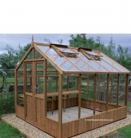 Modern Timber Greenhouse with Safety Glass 6'4 x 8'9