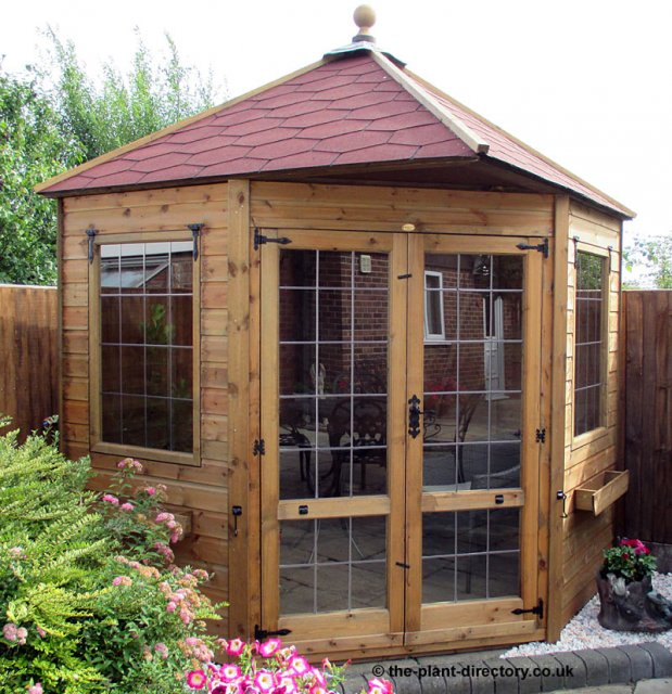 Apex Roof Corner Summerhouse 7' x 7' inc Vat and Delivery - Click Image to Close