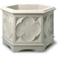 Gothic Hexagonal Planter - Stone Colour