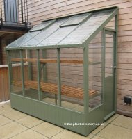 Painted Lean-to Greenhouse 8'4 x 4'6 Bracken Green