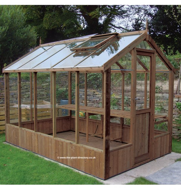 Modern Timber Greenhouse with Safety Glass 12'7 x 6'8 - Click Image to Close
