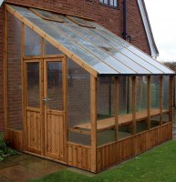 Timber Lean-To Greenhouse with Safety Glass 6'4 x 8'8