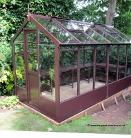 Painted Timber Greenhouse 20'10 x 6'8 Earth Brown