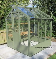 Painted Timber Greenhouse 6'4 x 6'8 Bracken Green