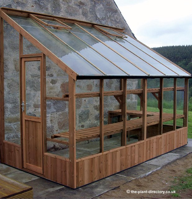 Timber Lean-To Greenhouse with Safety Glass 18'10 x 6'7 - Click Image to Close