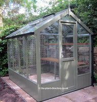 Painted Timber Greenhouse 10'5 x 6'8 Bracken Green