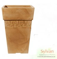 Sylvan Tall Square Planter - Sandstone Colour