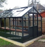 Painted Timber Greenhouse 18'10 x 8'9 Olive Green