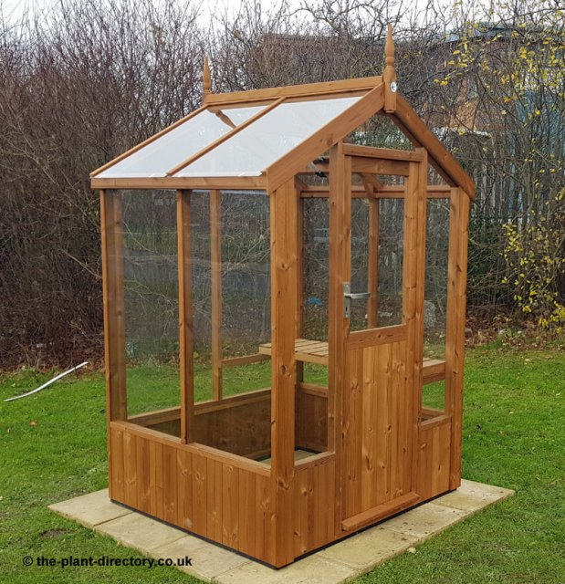 Modern Timber Greenhouse with Saftey Glass 4'3 x 4'8 - Click Image to Close