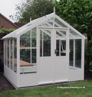 Painted Timber Greenhouse 16'9 x 8'9 Lily White