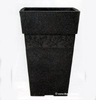 Sylvan Tall Square Planter - Dark Granite
