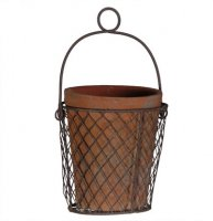 Aged Terracotta Pot in Wire Basket
