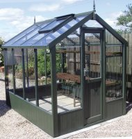 Painted Timber Greenhouse 14'8 x 6'8 Olive Green
