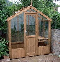 Modern Timber Greenhouse with Saftey Glass 4'3 x 6'8