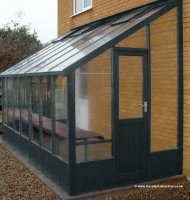 Painted Lean-to Greenhouse 14'8 x 6'7 Olive Green