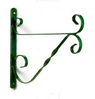 Hanging Basket Bracket - Heavy Duty Scrolled in Green - 35cm