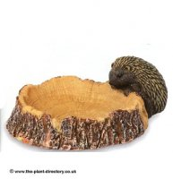 Log Birdbath with Small Hedgehog - Garden Decoration