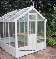 Painted Timber Greenhouse 16'9 x 6'8 Lily White
