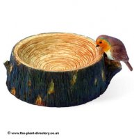 Log Birdbath with Robin Decoration - Garden Decoration