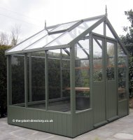 Painted Timber Greenhouse 6'4 x 8'9 Bracken Green