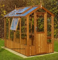 Modern Timber Greenhouse with Saftey Glass 8'4 x 4'8