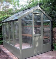 Painted Timber Greenhouse 8'4 x 6'8 Bracken Green