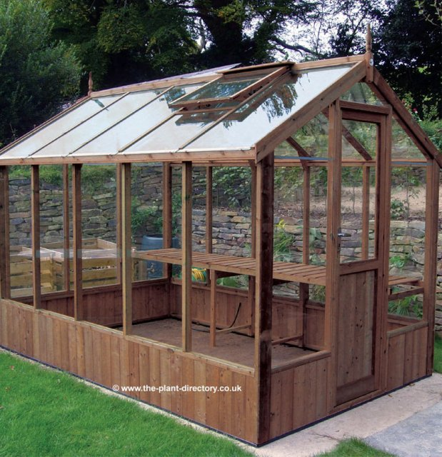 Modern Timber Greenhouse with Safety Glass 10'5 x 6'8 - Click Image to Close
