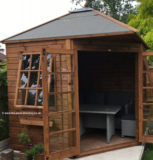 Apex Roof Corner Summerhouse 10' x 10' inc Vat and Delivery - Click Image to Close