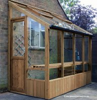Timber Lean-to Greenhouse with Safety Glass 6'4 x 4'6