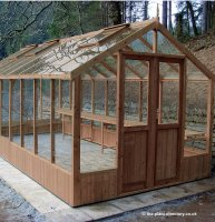 Modern Timber Greenhouse with Safety Glass 14'8 x 8'9