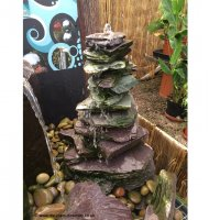 Drilled Slate Stack Pyramid Water Feature 90cm x 40cm x 35cm