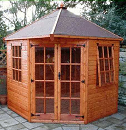 Apex Roof Corner Summerhouse 8' x 8' inc Vat and Delivery - Click Image to Close