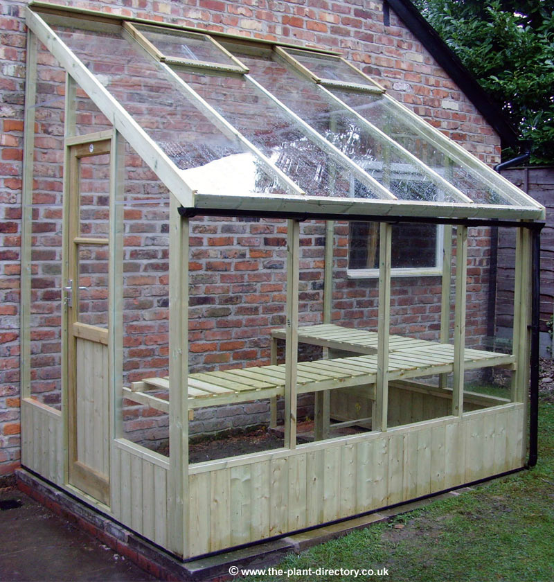 Wooden lean to greenhouse kits for Wooden greenhouse plans designs