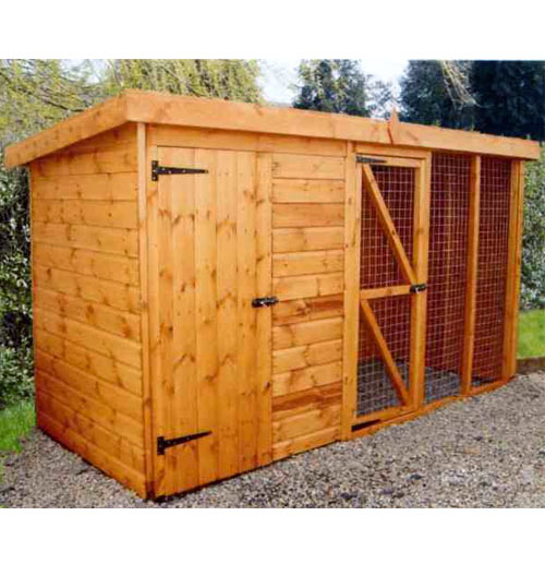 Pent Roof Dog Kennel and Run with Free Delivery - 3.6m x 1.2m - Click Image to Close