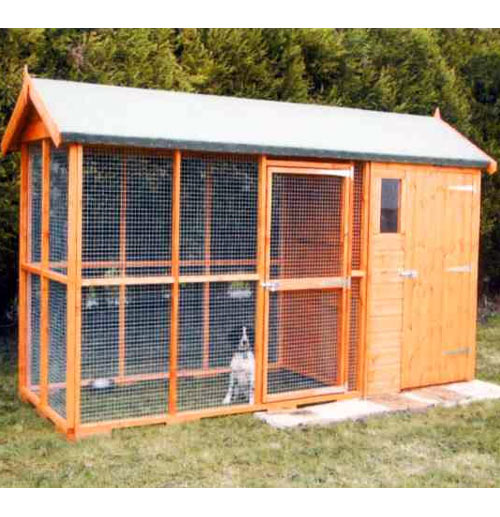 Apex Roof Dog Kennel and Run with Free Delivery - 3m x 1.8m - Click Image to Close